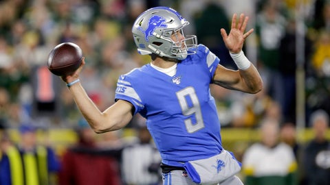 <p>               Detroit Lions quarterback Matthew Stafford throws a pass during the first half of an NFL football game against the Green Bay Packers, Monday, Oct. 14, 2019, in Green Bay, Wis. (AP Photo/Jeffrey Phelps)             </p>