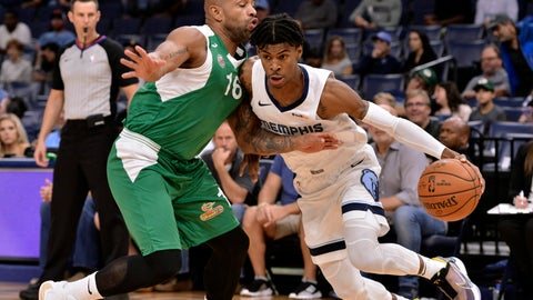 <p>               Memphis Grizzlies guard Ja Morant, right, controls the ball against Maccabi Haifa guard Gregory Vargas in the first half of an exhibition NBA basketball game Sunday, Oct. 6, 2019, in Memphis, Tenn. (AP Photo/Brandon Dill)             </p>