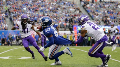 <p>               New York Giants wide receiver Sterling Shepard (87) is brought down by Minnesota Vikings cornerback Mike Hughes (21) during the third quarter of an NFL football game, Sunday, Oct. 6, 2019, in East Rutherford, N.J. (AP Photo/Adam Hunger)             </p>