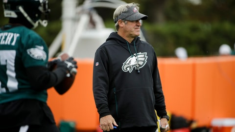 <p>               Philadelphia Eagles head coach Doug Pederson views practice at the NFL football team's training facility in Philadelphia, Thursday, Oct. 17, 2019. (AP Photo/Matt Rourke)             </p>
