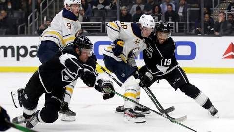 <p>               Buffalo Sabres' Victor Olofsson (68) is defended by Los Angeles Kings' Alex Iafallo (19) and Alec Martinez, left, during the first period of an NHL hockey game Thursday, Oct. 17, 2019, in Los Angeles. (AP Photo/Marcio Jose Sanchez)             </p>