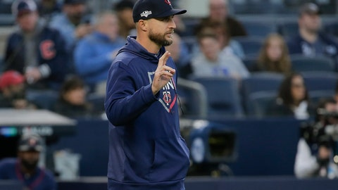 <p>               Minnesota Twins manager Rocco Baldelli motions to the bullpen during the third inning of Game 2 of an American League Division Series baseball game against the New York Yankees, Saturday, Oct. 5, 2019, in New York. (AP Photo/Seth Wenig)             </p>