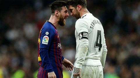 <p>               FILE - In this March 2, 2019 file photo, Barcelona forward Lionel Messi, left, goes head to head with Real defender Sergio Ramos as they argue during the Spanish La Liga soccer match between Real Madrid and FC Barcelona at the Bernabeu stadium in Madrid. The Spanish football league on Wednesday Oct. 16. 2019, has asked the Spanish football federation to change the location of the match between Barcelona and Real Madrid to avoid it coinciding with plans for a separatist rally. The league wants the federation to shift the match to Madrid. (AP Photo/Manu Fernandez, File)             </p>