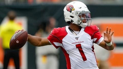 <p>               Arizona Cardinals quarterback Kyler Murray looks to throw in the first half of an NFL football game against the Cincinnati Bengals, Sunday, Oct. 6, 2019, in Cincinnati. (AP Photo/Gary Landers)             </p>