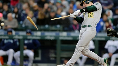 <p>               Oakland Athletics' Sean Murphy breaks a bat on a pitch from Seattle Mariners' Marco Gonzales during the second inning of a baseball game, Saturday, Sept. 28, 2019, in Seattle. (AP Photo/John Froschauer)             </p>