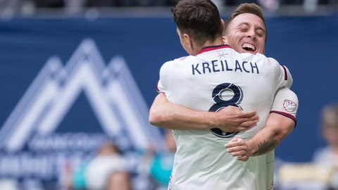 <p>               Real Salt Lake's Corey Baird, back, and Damir Kreilach celebrate Kreilach's goal against the Vancouver Whitecaps during the first half of an MLS soccer match in Vancouver, British Columbia, Sunday, Oct. 6, 2019. (Darryl Dyck/The Canadian Press via AP)             </p>