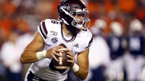 <p>               Mississippi State quarterback Garrett Shrader (6) scrambles out of the pocket during the second half of an NCAA college football game against Auburn, Saturday, Sept. 28, 2019, in Auburn, Ala. (AP Photo/Butch Dill)             </p>