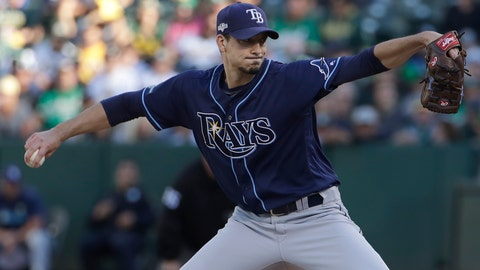 <p>               Tampa Bay Rays pitcher Charlie Morton throws to an Oakland Athletics batter during the first inning of an American League wild-card baseball game in Oakland, Calif., Wednesday, Oct. 2, 2019. (AP Photo/Jeff Chiu)             </p>