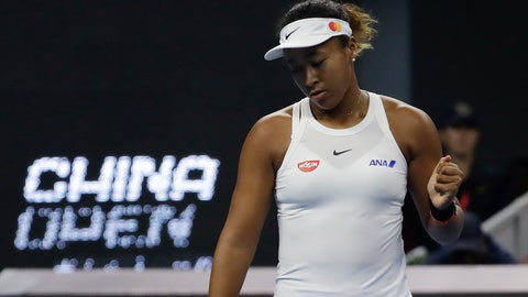 <p>               Naomi Osaka of Japan reacts while competing against Ashleigh Barty of Australia during their women's final at the China Open tennis tournament in Beijing, Sunday, Oct. 6, 2019. (AP Photo/Mark Schiefelbein)             </p>