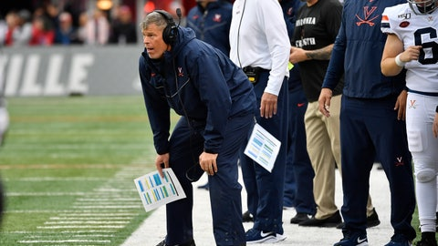 <p>               Virginia head coach Bronco Mendenhall watches his team during the first half of an NCAA college football game against Louisville in Louisville, Ky., Saturday, Oct. 26, 2019. (AP Photo/Timothy D. Easley)             </p>