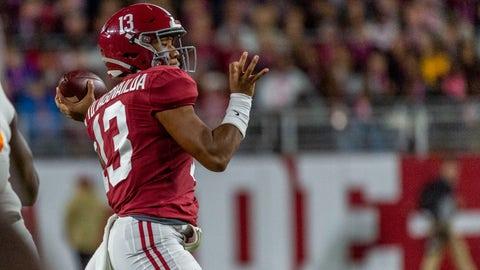 <p>               Alabama quarterback Tua Tagovailoa (13) throws during the first half of an NCAA college football game against Tennessee, Saturday, Oct. 19, 2019, in Tuscaloosa, Ala. (AP Photo/Vasha Hunt)             </p>
