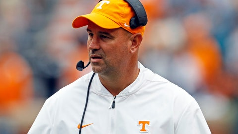 <p>               Tennessee head coach Jeremy Pruitt watches during the second half of an NCAA college football game against Mississippi State, Saturday, Oct. 12, 2019, in Knoxville, Tenn. (AP Photo/Wade Payne)             </p>
