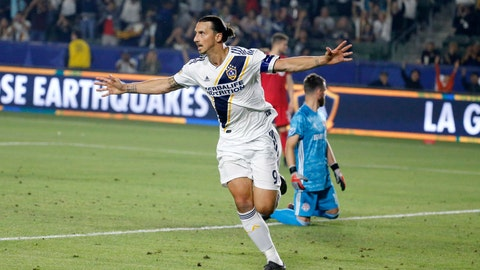 <p>               FILE - In this July 4, 2019, file photo, LA Galaxy forward Zlatan Ibrahimovic (9) celebrates scoring a goal during the second half of the team's MLS soccer match against Toronto FC in Carson, Calif. (AP Photo/Ringo H.W. Chiu, File)             </p>