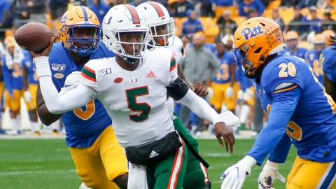 <p>               Miami quarterback N'Kosi Perry (5) looks to pass as he scrambles away from Pittsburgh linebacker Kylan Johnson (28) during the first half of an NCAA college football game, Saturday, Oct. 26, 2019, in Pittsburgh. (AP Photo/Keith Srakocic)             </p>