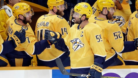 <p>               Nashville Predators defenseman Roman Josi (59), of Switzerland, is congratulated after scoring a goal against the San Jose Sharks during the first period of an NHL hockey game Tuesday, Oct. 8, 2019, in Nashville, Tenn. (AP Photo/Mark Humphrey)             </p>