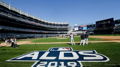 <p>               New York Yankees players warm up before a baseball team workout Wednesday, Oct. 2, 2019, at Yankee Stadium in New York. Yankees will host the Minnesota Twins in the first game of an American League Division Series on Friday. (AP Photo/Frank Franklin II)             </p>