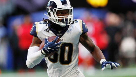 <p>               Los Angeles Rams running back Todd Gurley (30) runs against the Atlanta Falcons during the second half of an NFL football game, Sunday, Oct. 20, 2019, in Atlanta. (AP Photo/John Bazemore)             </p>