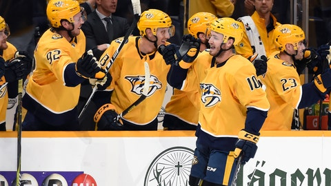 <p>               Nashville Predators center Colton Sissons (10) is congratulated after scoring a goal against the Anaheim Ducks during the first period of an NHL hockey game Tuesday, Oct. 22, 2019, in Nashville, Tenn. (AP Photo/Mark Zaleski)             </p>