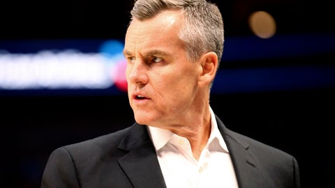 <p>               Oklahoma City Thunder head coach Billy Donovan stands on the sideline during an NBA preseason basketball game against the Dallas Mavericks, Monday, Oct. 14, 2019, in Dallas. (AP Photo/Richard W. Rodriguez)             </p>
