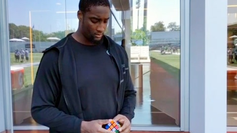 <p>               In this Sunday, July 28, 2019 image taken from video, offensive lineman Calvin Anderson, prepares to solve a Rubik's Cube behind his back at the New York Jets' NFL football practice facility in Florham Park, N.J. The Denver Broncos rookie offensive tackle has a knack for quickly solving a Rubik's Cube, even if it's behind his back or blindfolded. He's so good, in fact, that Rubik's Cube signed him this week as a brand ambassador , the first professional athlete to serve in that role. (AP Photo/Dennis Waszak)             </p>