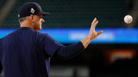 <p>               Houston Astros manager AJ Hinch catches a ball during batting practice before Game 2 of the baseball World Series against the Washington Nationals Wednesday, Oct. 23, 2019, in Houston. (AP Photo/Matt Slocum)             </p>
