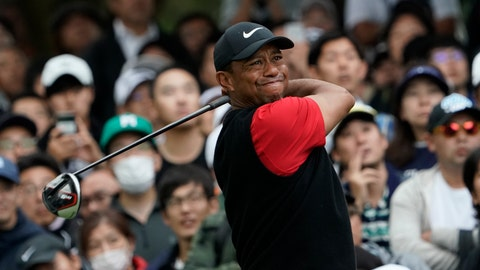 <p>               Tiger Woods of the United States watches his tee shot on the 6th hole during the final round of the Zozo Championship PGA Tour at the Accordia Golf Narashino country club in Inzai, east of Tokyo, Japan, Sunday, Oct. 27, 2019. (AP Photo/Lee Jin-man)             </p>