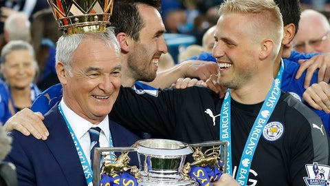 <p>               FILE - In this May 7, 2016 file photo, Leicester's team manager Claudio Ranieri gets a crown by Leicester's goalkeeper Kasper Schmeichel as they lift the trophy as Leicester City celebrate becoming the English Premier League soccer champions at King Power stadium in Leicester, England. Claudio Ranieri loves a challenge and his latest job at Sampdoria will be anything but straightforward. (AP Photo/Matt Dunham)             </p>