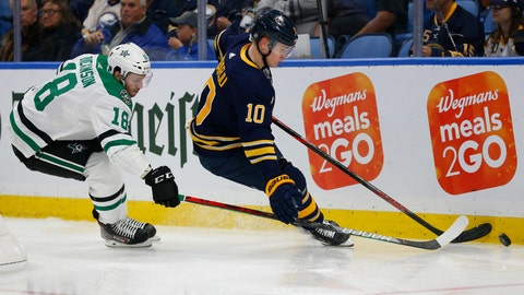 <p>               Buffalo Sabres defenseman Henri Jokiharju (10) and Dallas Stars forward Jason Dickinson (18) battle for the puck during the second period of an NHL hockey game, Monday, Oct. 14, 2019, in Buffalo N.Y. (AP Photo/Jeffrey T. Barnes)             </p>