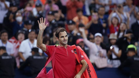 <p>               Roger Federer of Switzerland waves to spectators as he leaves the court after he lost to Alexander Zverev of Germany in their men's singles quarterfinals match at the Shanghai Masters tennis tournament at Qizhong Forest Sports City Tennis Center in Shanghai, China, Friday, Oct. 11, 2019. (AP Photo/Andy Wong)             </p>
