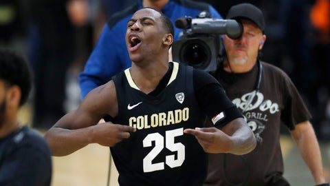 "<p>               FILE - In this Feb. 13, 2019, file photo, Colorado guard McKinley Wright IV celebrates as time runs out in the team's NCAA college basketball game against Arizona State in Boulder, Colo. The Buffs were voted second in the preseason Pac-12 Conference poll. That's rare territory for a team searching for its first NCAA appearance since 2015-16. Then again, they do return their six top scorers.  ""The bar is high for us of course,"" said Wright, who along with Tyler Bey earned preseason Pac-12 first-team honors. (AP Photo/David Zalubowski, File)             </p>"