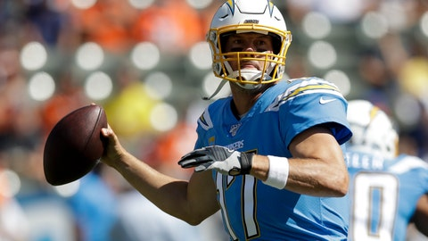 <p>               Los Angeles Chargers quarterback Philip Rivers passes against the Denver Broncos during the first half of an NFL football game Sunday, Oct. 6, 2019, in Carson, Calif. (AP Photo/Marcio Jose Sanchez)             </p>