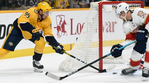 <p>               Florida Panthers defenseman Anton Stralman, right, of Sweden, blocks a shot by Nashville Predators center Matt Duchene (95) during the second period of an NHL hockey game, Saturday, Oct. 19, 2019, in Nashville, Tenn. (AP Photo/Mark Zaleski)             </p>