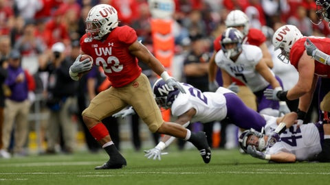 <p>               Wisconsin running back Jonathan Taylor (23) run for a touchdown against Northwestern defensive back Brian Bullock (26) and Northwestern linebacker Paddy Fisher (42) during the first half of an NCAA college football game Saturday, Sept. 28, 2019, in Madison, Wis. (AP Photo/Andy Manis)             </p>