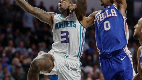 <p>               Charlotte Hornets guard Terry Rozier III, left, drives to the basket past Philadelphia 76ers guard Josh Richardson in the second half of a preseason NBA basketball game in Winston-Salem, N.C., Friday, Oct. 11, 2019. (AP Photo/Nell Redmond)             </p>