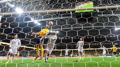 <p>               Sweden's Marcus Berg scores the opening goal during the Euro 2020 Group F qualification soccer match between Sweden and Spain at Friends Arena in Solna, Stockholm, Sweden, on Tuesday Oct. 15, 2019. (Anders Wiklund/ TT via AP)             </p>