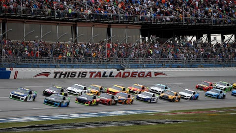 <p>               Chase Elliott (9) leads the pack to the start line for a NASCAR Cup Series auto race at Talladega Superspeedway in Talladega, Ala., Sunday, Oct. 13, 2019. (AP Photo/Butch Dill)             </p>