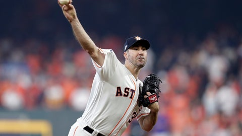 <p>               Houston Astros starting pitcher Justin Verlander (35) delivers a pitch against the Tampa Bay Rays in the first inning during Game 1 of a best-of-five American League Division Series baseball game in Houston, Friday, Oct. 4, 2019. (AP Photo/Michael Wyke)             </p>