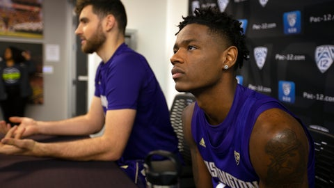 <p>               Washington's Sam Timmins, left, and Nahziah Carter speak during the Pac-12 NCAA college basketball media day, in San Francisco, Tuesday, Oct. 8, 2019. (AP Photo/D. Ross Cameron)             </p>