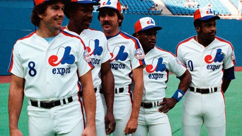 <p>               FILE - In this July 13, 1982, file photo, Montreal Expos players, from left, Gary Carter, Andre Dawson, Steve Rogers, Tim Raines and Al Oliver pose before the All-Star baseball game in Montreal. Now known as the Washington Nationals, the team is set to play in the franchise's first World Series. (The Canadian Press via AP, File)             </p>