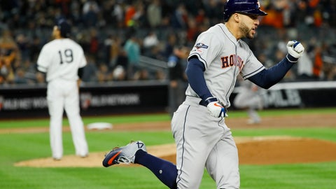 <p>               Houston Astros' George Springer, right, celebrates after his three-run home run off New York Yankees starting pitcher Masahiro Tanaka during the third inning in Game 4 of baseball's American League Championship Series Thursday, Oct. 17, 2019, in New York. (AP Photo/Matt Slocum)             </p>