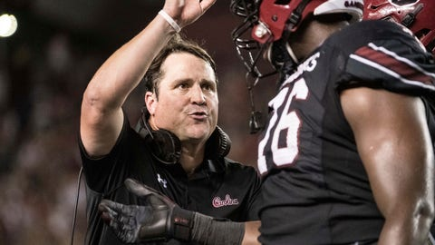 <p>               South Carolina head coach Will Muschamp welcomes players back to the sideline after a score against Kentucky during the first half of an NCAA college football game Saturday, Sept. 28, 2019, in Columbia, S.C. (AP Photo/Sean Rayford)             </p>