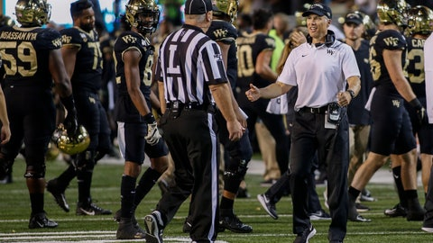 <p>               Wake Forest coach Dave Clawson argues with official Kirk Lewis after losing an onside-kick attempt during the second half of the team's NCAA college football game against Louisville in Winston-Salem, N.C., Saturday, Oct. 12, 2019. Louisville won 62-59. (AP Photo/Nell Redmond)             </p>