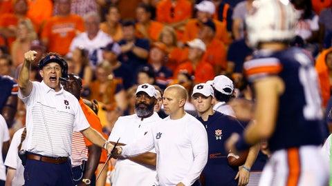 <p>               Auburn head coach Gus Malzahn, left, signals to quarterback Bo Nix (10) during the first half of an NCAA college football game against Mississippi State, Saturday, Sept. 28, 2019, in Auburn, Ala. (AP Photo/Butch Dill)             </p>