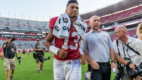 <p>               Alabama quarterback Tua Tagovailoa (13) jogs off the field after a  victory over Mississippi in an NCAA college football game, Saturday, Sept. 28, 2019, in Tuscaloosa, Ala. (AP Photo/Vasha Hunt)             </p>