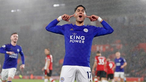 <p>               Leicester's Ayoze Perez celebrates scoring his side's third goal during the English Premier League soccer match between Southampton and Leicester City at St Mary's stadium in Southampton, England Friday, Oct., 25, 2019. (AP Photo/Alastair Grant)             </p>