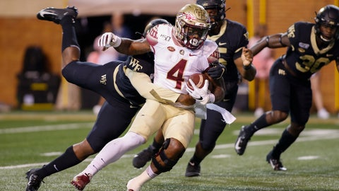 <p>               Florida State running back Khalan Laborn (4) fights for yards against Wake Forest in the first half of an NCAA college football game in Winston-Salem, N.C., Saturday, Oct. 19, 2019. (AP Photo/Nell Redmond)             </p>