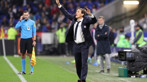 <p>               Lyon's new coach Rudi Garcia reacts during the French League 1 soccer match between Lyon and Dijon, at the Stade de Lyon in Decines, outside Lyon, France, Saturday, Oct. 19, 2019. (AP Photo/Laurent Cipriani)             </p>