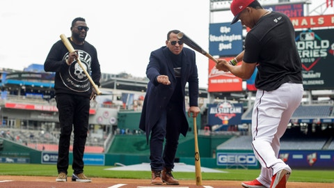 <p>               Alex Rodriguez and David Ortiz watch Washington Nationals' Juan Soto swing the bat before Game 3 of the baseball World Series against the Houston Astros Friday, Oct. 25, 2019, in Washington. (AP Photo/Pablo Martinez Monsivais)             </p>