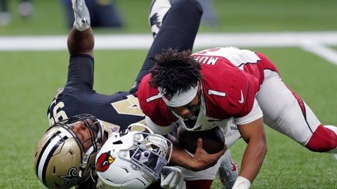 <p>               Arizona Cardinals quarterback Kyler Murray (1) loses his helmet as he is sacked by New Orleans Saints defensive end Cameron Jordan (94) in the second half of an NFL football game in New Orleans, Sunday, Oct. 27, 2019. (AP Photo/Bill Feig)             </p>
