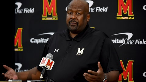 <p>               FILE - In this Aug. 2, 2019, file photo, Maryland head coach Mike Locksley addresses the media during a news conference before NCAA college football practice, in College Park, Md. Maryland's impressive start under first-year coach Mike Locksley has been wiped out by two straight ugly defeats, leaving the team scrambling before a pivotal trip to Rutgers. (AP Photo/Will Newton, File)             </p>